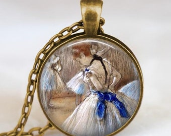 Ballerina pendant , Ballerina necklace, Degas ballerina dance ballet jewelry, Glass dome art pendant with gift bag