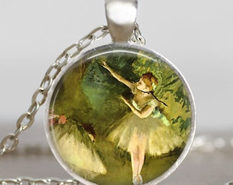 Ballerina necklace , Ballerina dance jewelry , Emerald green ballet dance jewelry ,Glass dome art pendant with gift bag