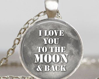 I love you to the moon and back  necklace, grey moon, valentine gift jewelry, moon pendant, moon jewelry , friend gift, family gift idea