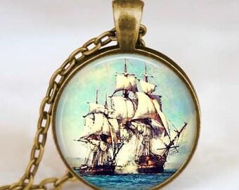 Ship necklace , Ship jewelry, Sailboat necklace , Nautical ship pendant , Sailboat jewelry