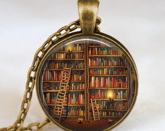 Vintage Library and books pendant necklace , Book lover pendant , Books jewelry ,  librarian gift, writer ,teacher , book nerd gift necklace