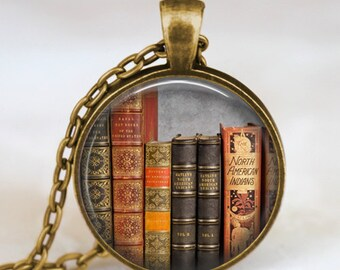 Vintage library books pendant necklace , Book lover pendant , Books  jewelry ,  librarian gift, writer ,teacher , book nerd gift necklace