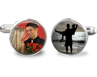 Custom photo cufflinks, men's accessories, wedding cufflinks, personalized picture cufflinks, gift for groom or husband