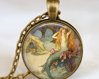 Mermaid vintage finish necklace , vintage mermaid jewelry , mermaid charm ,  sea fairies aqua marine sea life jewelry, beach jewelry
