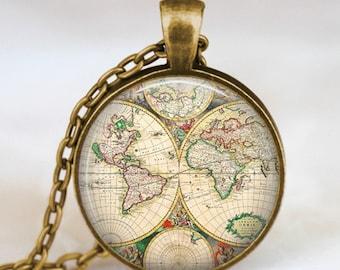 World map globe necklace, vintage globe pendant , world map art pendant , teacher gift, world travel adventurer  , world map globe jewelry