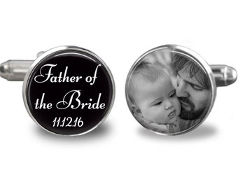 Custom photo cufflinks, father of the bride cufflinks, wedding cufflinks, personalized picture cufflinks, gift for dad, husband