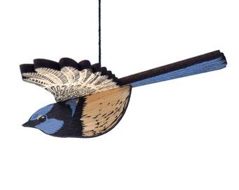 Wren Mobile, Hand Printed Wooden Lino Printed Hanging Bird, Fairy Wren, Australian Bird,