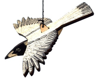 Australian Magpie Linoprinted Wooden Bird Mobile, Hand Printed, Magpie, Australian, Swooping,