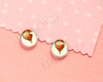 Sale - 10pcs handmade fly balloon round clear glass dome cabochons 12mm (12-0632)