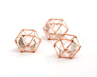 Geometric 3D rose gold pendant connector 25mm BN418C