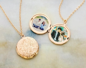 Personalized with Your Own Photo  Golden Locket Necklace, Photo Necklace, Photo Locket, best gift --L09