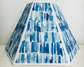 Hexagon Fabric Lampshade-Coastal-Ocean Hues-Lamp Shade-Panel Lampshade-Cobalt Blue-White-Sky Blue-Waverly Fabric-Floor Lamp shade-Shades