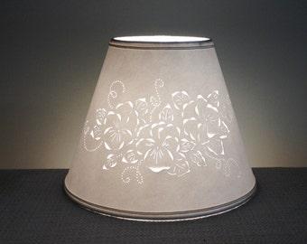 Cut & Pierced Floral Lamp Shade-Clip On Lamp Shade-Floral-Pierced Lampshade-Punched Lampshade-Barbaragailslamps