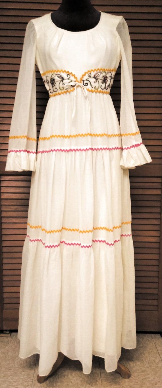 vintage maxi dress bell sleeves cottagecore, sz sm