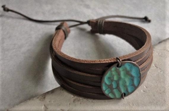 Men/'s Bracelet,Men/'s Leather Bracelet Men/'s Cuff Bracelet turquoise leather,Genuine Leather Leather Cuff Bracelet for Men Wrap Bracelet