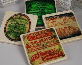 Poison Label stone coasters