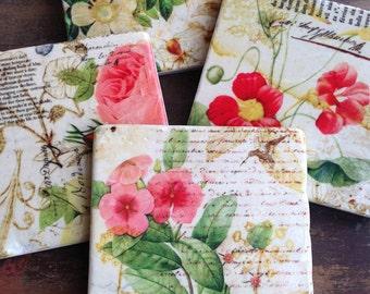Grace's Garden - stone coasters (set of 4)