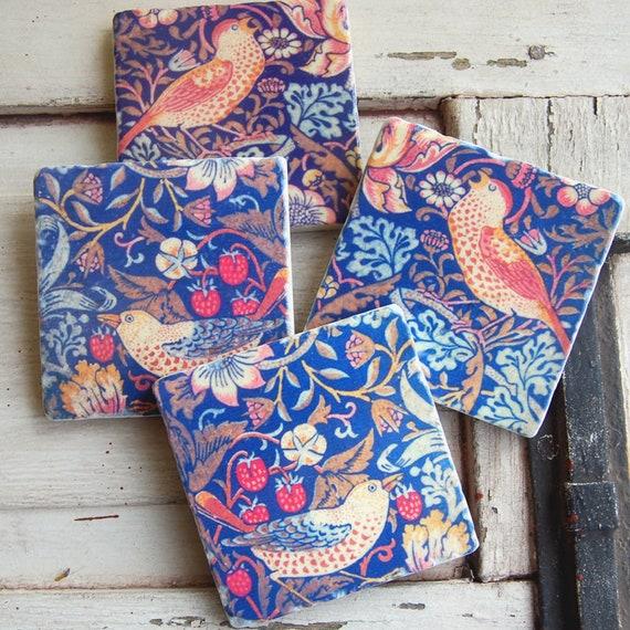 Hearth Amp Home Folk Art Stone Coasters William Morris Etsy