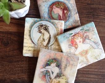She Stone Coasters   Mucha Art