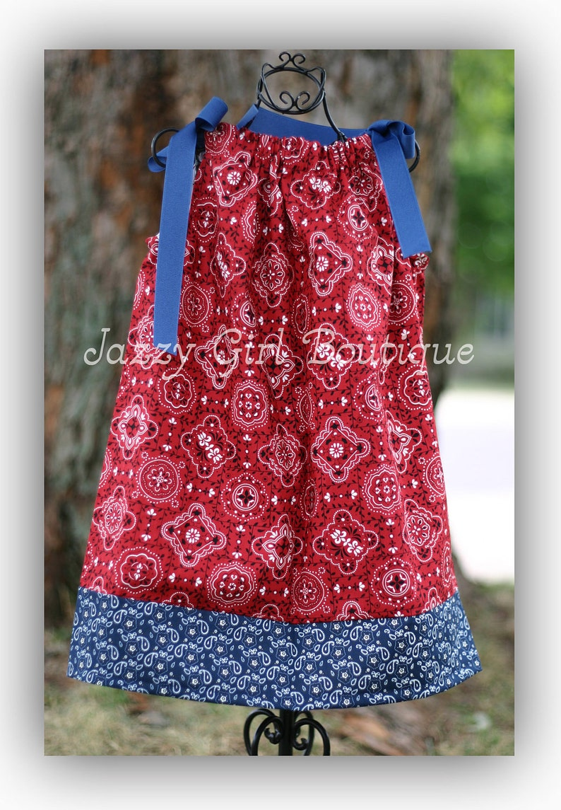 Girls Cowgirl Pillowcase Dress Red Bandana with Blue Bandana Trim and Blue Grosgrain Ribbon Ties