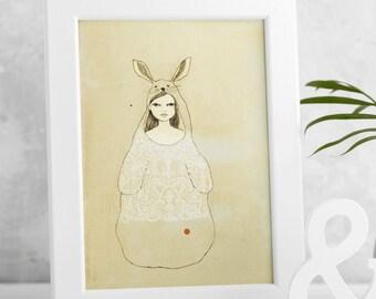 Rabbit Spirit Animal Wall Art Print, Framed Unframed Bunny Nursery Poster, Boho Bunny Theme. White Rabbit Girl, Rabbit Lover Gift