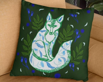 Green Fox Animal Print Pillow, Green Pillow Case Fox Illustration, Animal Print Fox Cushion, Boho Foxy Green Bedroom Accent Pillow