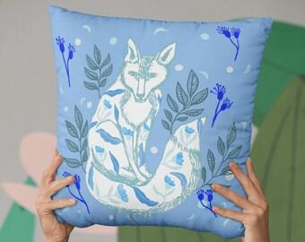 Pastel Fox Illustration Light Blue Pillow Case, Decorative Animal Print Accent Pillow, Pastel Blue Boho Pillow, Blue Euro Sham Fox Pillow