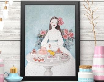 Vintage Bakery Decor, French Patisserie Wall Art Print, Macaroon Girl at Dessert Table, Cake Lover Gift, Framed Unframed Dessert Poster