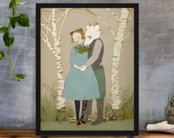 Bear and Girl Art Print, Fairytale Gifts, Enchanted Forest Illustration, Happily Ever After Poster, Whimsical Couple, Relationship Gift