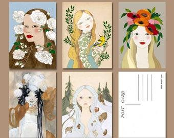 Flower Lady Art, Set of 5 Postcards, Nature Lover Gift, A6 Art Print, Snail Mail Gift, Floral Postcards, Pen Pal Gifts, Nature Goddess Art