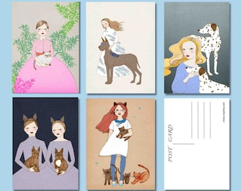 Pet Postcard Pack, Set of 5 Postcards, Pen Pal Gifts, Cute Cat Girl, Snail Mail Gifts, Whimsical Dog Art, Cat Postcard Set, Dog Postcards