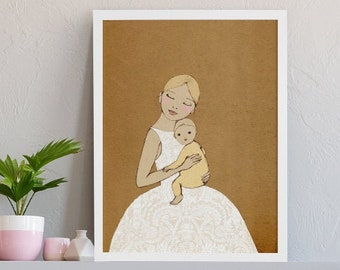 Mother and Child Art 1st Mothers Day Gift Motherhood Wall Art Maternity Portrait Motherhood Painting Expecting Mother And Baby Art Poster