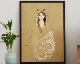 Bear Spirit Animal Wall Art Print, Framed Unframed Boho Bear Nursery Poster, Over the Bed Fairytale Artwork, Dreamy Bear Lover Gift