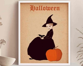 Halloween Witch Art Print, Witch Poster, Witchy Gifts for Women, Best Friend Gift for Her, Halloween Lover Gift, Cute Witch Print