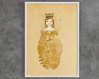 Raccoon Girl Wall Art Print, Native American Spirit Animal Poster, Framed Unframed Woodland Nursery Decor Girl, Boho Raccoon Fairytale Art