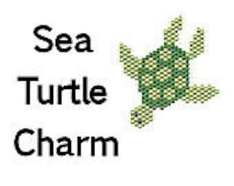 Delica Seed Bead Brick Stitch Sea Turtle Charm Pattern PDF Digital File Bead Graph Ocean Animals Bead Pattern