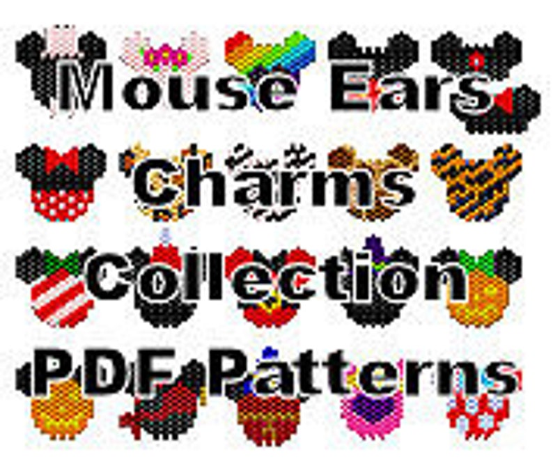 Mickey and Minnie Mouse Ears Beaded Charms Pattern Collection image 0