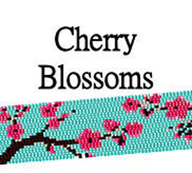 Peyote Pattern Cherry Blossoms Beaded Japanese Asian Floral image 0