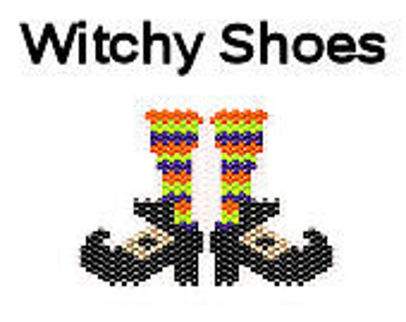 Halloween Brick Stitch Delica Bead Pattern Witch Shoes image 0