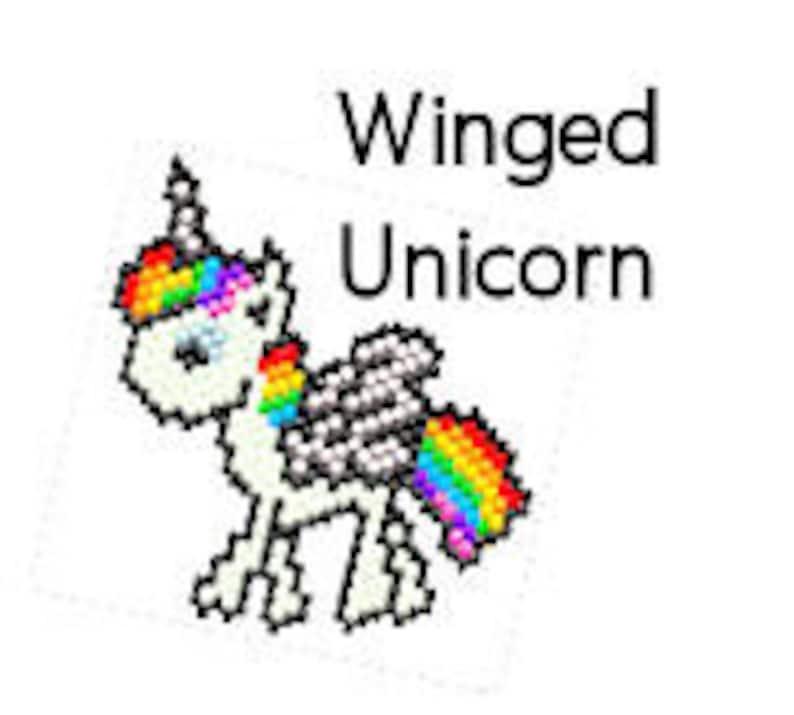 Rainbow Unicorn Pegasus Winged Beaded Ornament Digital PDF image 0