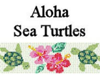 Peyote Bracelet Pattern Aloha Sea Turtles Beaded Peyote Cuff Bracelet Delica Seed Bead Pattern Digital PDF 2 Drop Peyote Stitch