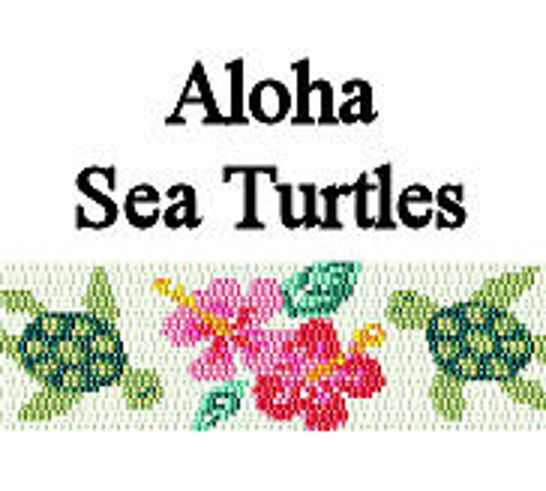 Peyote Bracelet Pattern Aloha Sea Turtles Beaded Peyote Cuff image 0