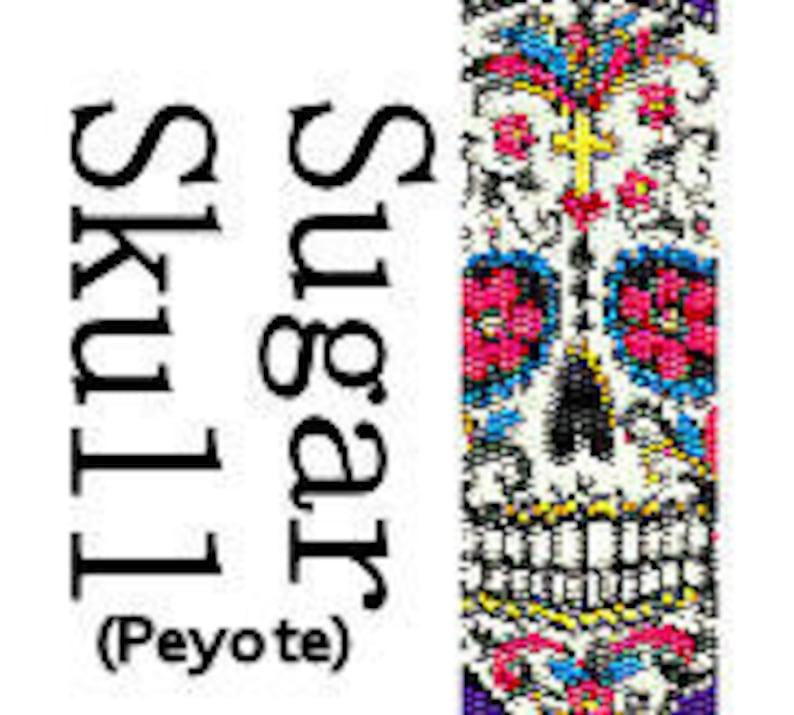 Peyote Bracelet Pattern Instant Download Sugar Skull Day of image 0
