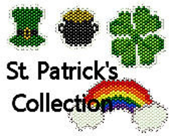 Brick Stitch Charm Patterns St. Patrick's Day Collection Earrings Rainbow Pot of Gold Green Shamrock Four Leaf Clover Seed Bead Patterns