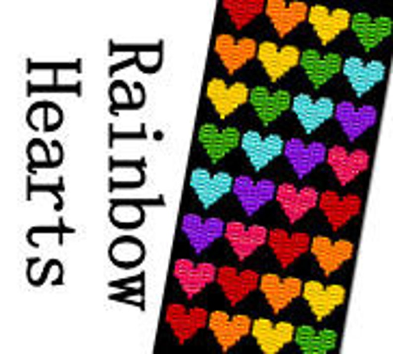 Peyote Bracelet Pattern Rainbow Hearts Wide Three 3 Drop image 0