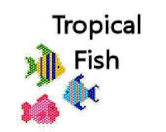 Seed Bead Pattern Brick Stitch Pattern Earrings Delica Beads Ornament Charms Tropical Fish Aquarium Beach Ocean Jewelry Digital