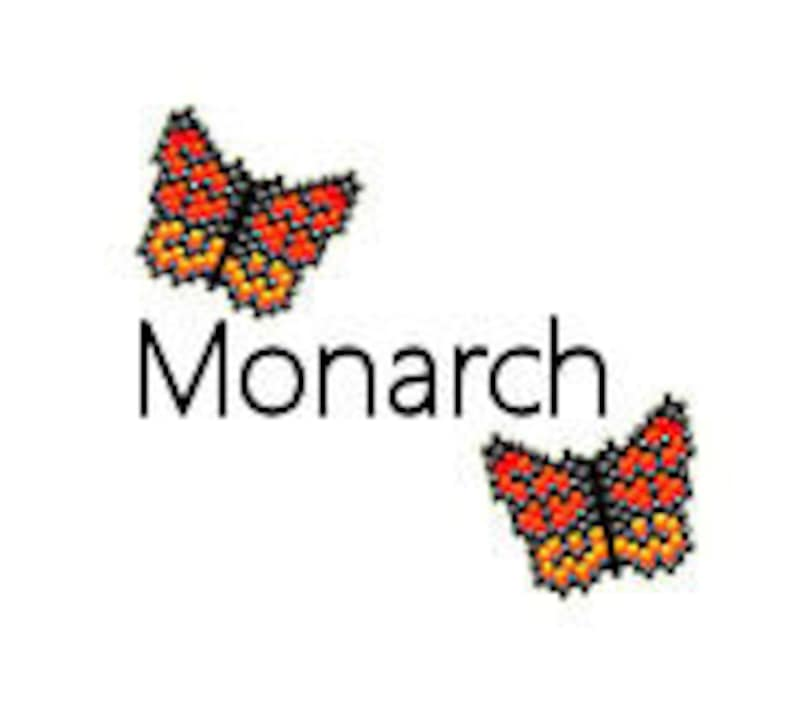Brick Stitch Earrings Pattern Monarch Butterfly Simple Beaded image 0