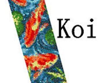 Peyote Bracelet Pattern Koi Fish Pond Beaded Peyote Cuff Bracelet Digital Pattern PDF 2 Drop Stitch Delica Seed Bead Pattern