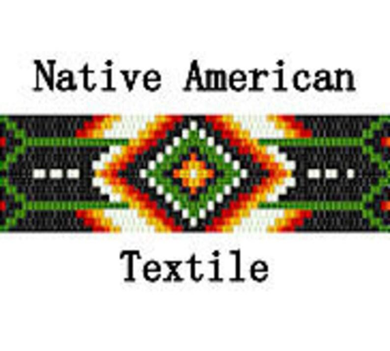 Peyote Pattern Native American Textile Geometric Bracelet Hat image 0