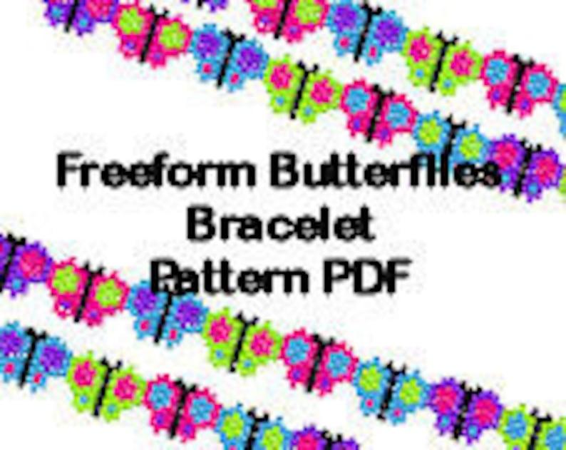 Beaded Butterfly Brick Stitch Bracelet Pattern PDF Digital image 0